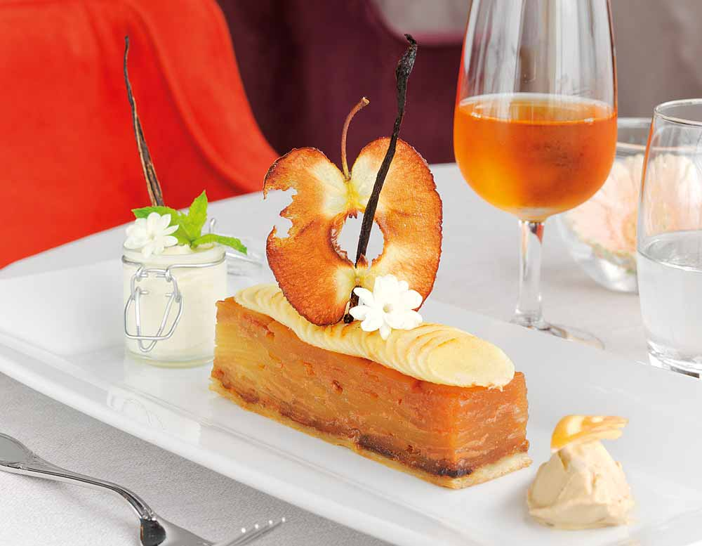 Apple dessert Grand Hotel in Cabourg, Normandy