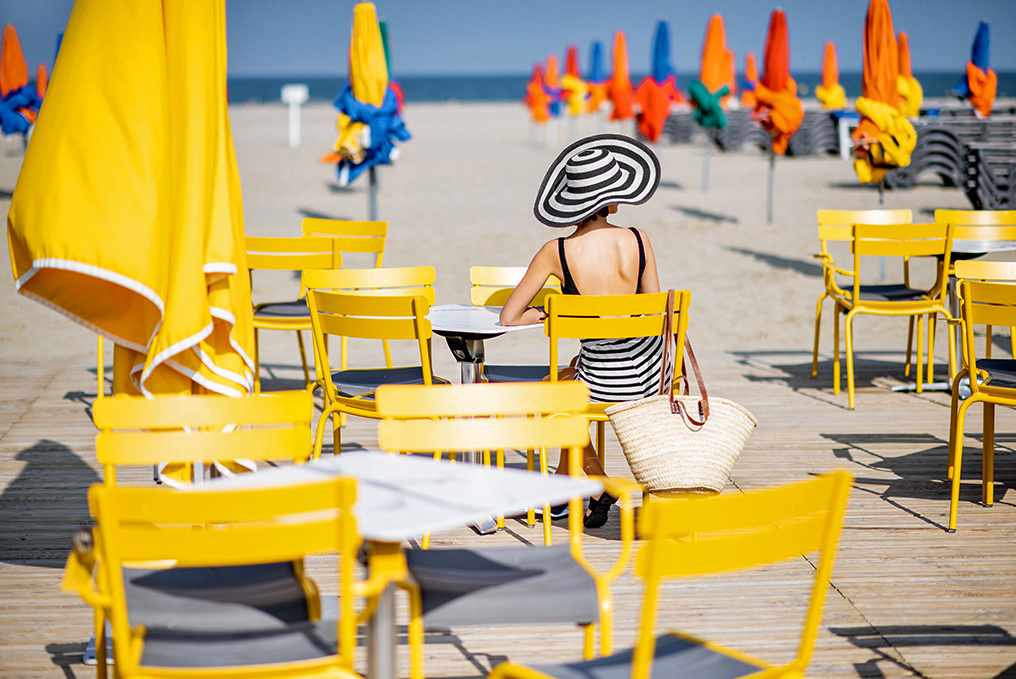 Deauville Beach with colorful umbrellas, France