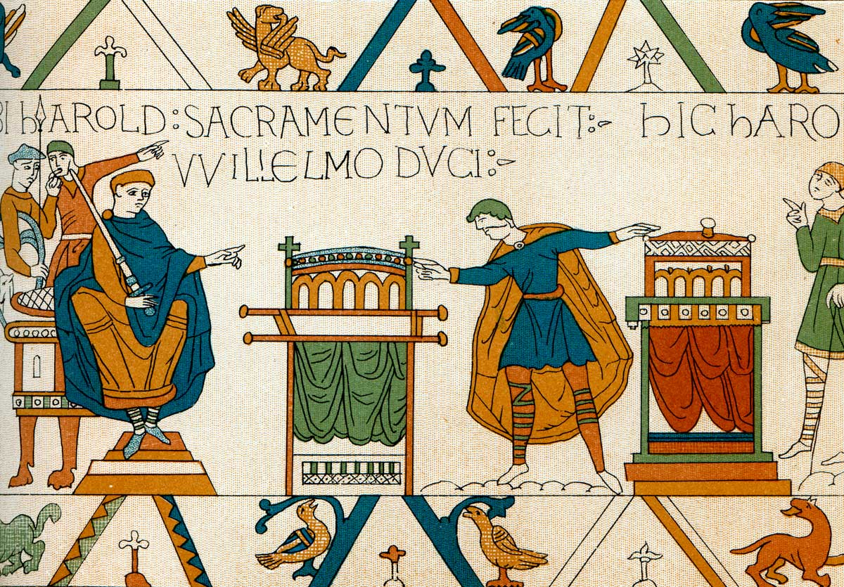 Vintage engraving of detai Bayeux tapestry, Normandy