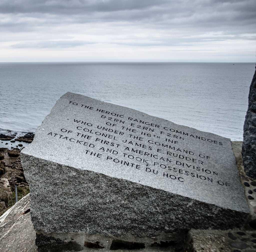 Granite memorial near the Omaha beach landing zone in Normandy